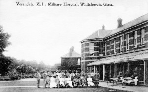 Verandah at Whitchurch Hospital during WW1